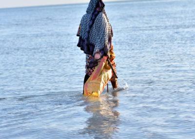 Matériel de culture d'algues: Un sac, un baton, de la corde pour fixer les algues